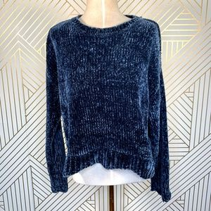Zara Chenille Scallop Hem SweaterZara in Navy Blue